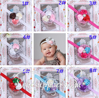 Fashion Lace Flower Baby Headband Hairbands Infant Rose Flower Hairband Topknot Toddler Hair Ornament Accessory 20pcs TS-0180
