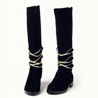 2013 fall/winter women black suede round-toe knee-high flat boots