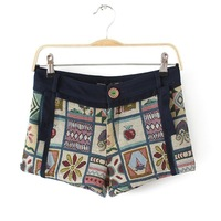 Female fashion and sexy mid waist vintage jeans with flower rhombus fluid shorts boot block decoration