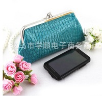 Pu stone pattern long design double layer hasp coin purse mobile phone bag mouth gold package