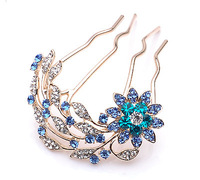 2014 New Luxury  Korean Classic Blu Crystal Stone Comb Hair Accessories Hairpin