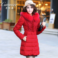 Hot sale! Card winter women's jackets new 2013 medium-long slim fur collar high quality women's down coat outerwear keep warm