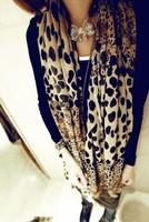 2013 autumn leopard print gradient ultra long scarf women's velvet chiffon long silk scarf small stone dapperly
