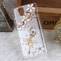 3D bling clear ballet flower white diamond case cover For Sony Ericsson Xperia Ray ST18i