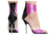 11CM pink transparent glass slipper high heel sandals 11 cm size European and American women crystal sandals 404 yards