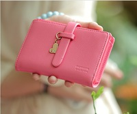 Hot sell--2014 new arrival lady short zipper buckle coin purse Cute women PU Leather Small Wallet Car bag free shipping HX200