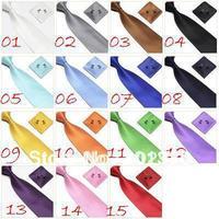 neck tie set necktie hanky cufflinks soid color men's ties sets Handkerchiefs Pocket square tower cravat