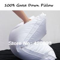 Free Shipping 100% White Goose Down Pillow 100% Cotton Cover White Goose Down Pillow Health Care Feather  Pillow Cervical Neck