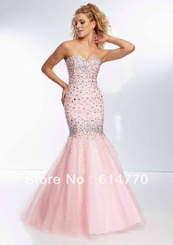 Custom made christmas sequined mermaid light pink prom dresses p479