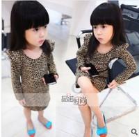 Free shipping! new long t shirt for girl summer leopard  tshirt cute long-sleeve t-shirts girl's tee tops 2013