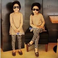 Free shipping! autumn fleece trousers children's clothing girl's pants fashion leopard leggings 2013 new
