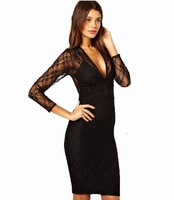 Women's Evening Dress Black Lace Full Sleeve Sexy Bodycon 6 Sizes  LF1030