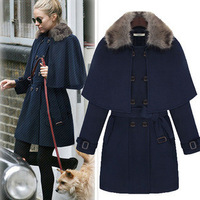 free shipping 2013 new fashionEuropean and American women's 2013 new winter woolen coat fur collar woolen cape coat jacket whole