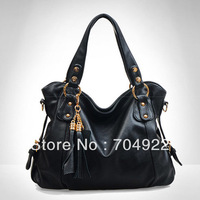 Free Shipping 2013 Hot Wholesale Zipper Tassel soft Versatile Shoulder bag Women Fahion bag Solid Handbag Genuine Bag Handbags