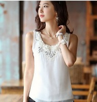 2013 summer new women's plus size chiffon o-neck lace embroidery blouses small vest spaghetti strap top basic shirt  S M L XL