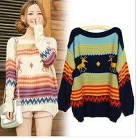 Free shipping han edition loose one word led stripes fawn pattern of knit sweater
