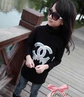 Free shipping! autumn fleece t-shirt for girl black thick long tshirt long-sleeve t shirts fashion letter tops 2013 new