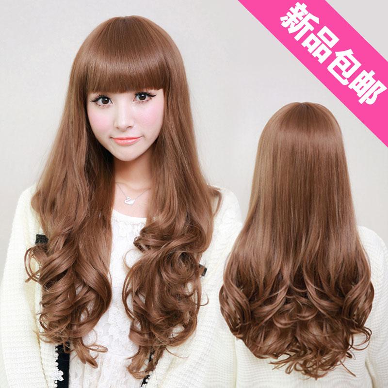 Peruca meninas fofo maçante fio de alta temperatura pintura longo encaracolado peruca de cabelo moda feminina(China (Mainland))