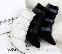 Free Shipping 2013 Winter Isabel Marant  Women Rabbit Fur Genuine Leather Suede Velcro Wedge Shoes Ankle Boots Black White 34-40