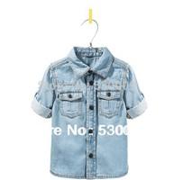 Free shipping Spring new children's clothing boys washed denim shirt Children aged 2 to 14 / Children's cowboy shirt