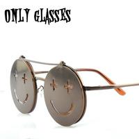 Steam punk sunglasses personalized smiley round metal ball rock glasses oculos de sol S196