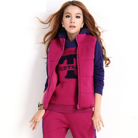 2013 autumn and winter new women's sportswear thick leisure suit three-piece sweatshirt for women fashion sweater Big Size XXL