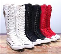 Vivi boots autumn long-barreled gaotong side zipper lacing high women's  shoes canvas boots canvas shoes