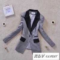 [R&V Closet] 2014 spring  women's fashion outerwear elegant slim waist plus size slim medium-long blazer suit S-XXXL