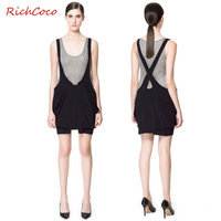 Studio design applique large pocket back cross suspenders loose-waisted solid color chiffon short skirt d103