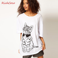 Fashion normic fresh cat print o-neck white loose fifth sleeve cotton t-shirt shirt d044