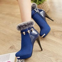 free shipping,SY33,size 34-43,nubuck leather,platforms,warm lining,winter shoes women ankle boots fashion high heel boots