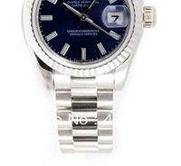 Ladys President New Style Heavy Band 18k White Gold Model 179179 Fluted Bezel Blue Stick Dial