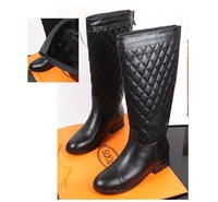 Free Shipping 2013 Winter Warm Velvet Black Genuine Leather Quilted Flat-heel Knee-High Boots,Women Martin Knight Boots 34-40