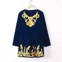 Fashion Gold Embroidery Vintage Long Sleeve Velvet Dress, Ladies Autumn/Winter Elegant Velvet Dress