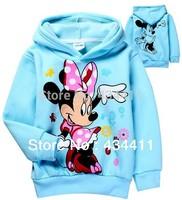 Retail!2014 Autumn baby girls Minnie Mouse Fleece hoodies,Children outerwear,Kids Cartoon Long Sleeve t shirt/sweatshirt/clothes