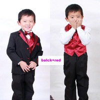 children clothes child clothing boys suit coat+pants+vest+ shirts + belt + bow tie sets free shipping