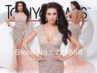 2014 newest hotsale sexy luxurious handmake short sleeve v-neck split bling bling beads crystal tony bowls evening dress 114C29