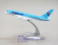 16cm Korean Air aircraft model A380-800 Airbus planes alloy die cast collectibles gifts and souvenir Adults Children Toy Vehicle