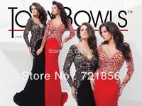 2014 newest hotsale sexy luxurious handmake v-neck long sleeve beads crystal open back tony bowls evening dress 114C38