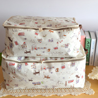 Washable cotton fabric storage box / sorting clothing and bedding bags / Fabric Baskets pouch / storage box with lid