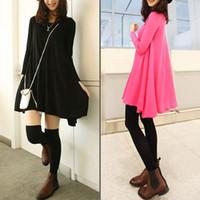 New Trendy Fit Womens Lady Loose Long Sleeve Warm Big Hem Render Dress Coat 3121