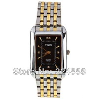 New 2013 fashion Stainless Steel Brand Analog Quartz Dress Men Watch with 5 Diamond Squares Rectangle Dial Steel (2 color )