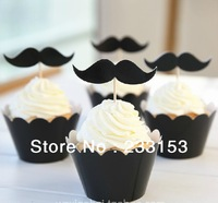 Free Shipping Christmas Cupcake Surrounding Edges and Picks Toppers Set Xmas Muffin Black Mustache Beard Cake Cups and Toppers