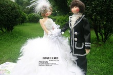Wedding dress filmsize bride doll bandwagon car doll white feather decoration(China (Mainland))
