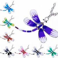 Vintage Dragonfly Necklaces 8 Color-Mix butterfly pendant Necklace women necklaces Wedding Gifts 8pcs/lot