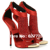 Ladies Red Crystal High Heel Sandals,Wonderful Fashion Sandals High Quality