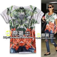 Fashion print comfortable fashion short-sleeve T-shirt thin fabric