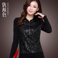 Women's shirt 2013 PU basic shirt female long-sleeve small lapel basic shirt autumn and winter thick shayi plus velvet