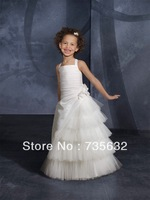 2013 New Arrival  Free shipping Best selling Quality Taffeta Pleat  Spaghetti Bubble Wedding party Flower Girl Dresses A 295