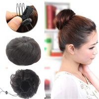 Free Shipping   30g Natural  Black  Virgin Human Hair Hand-woven Buns Jessica Alba Clips in on Hair Extensions